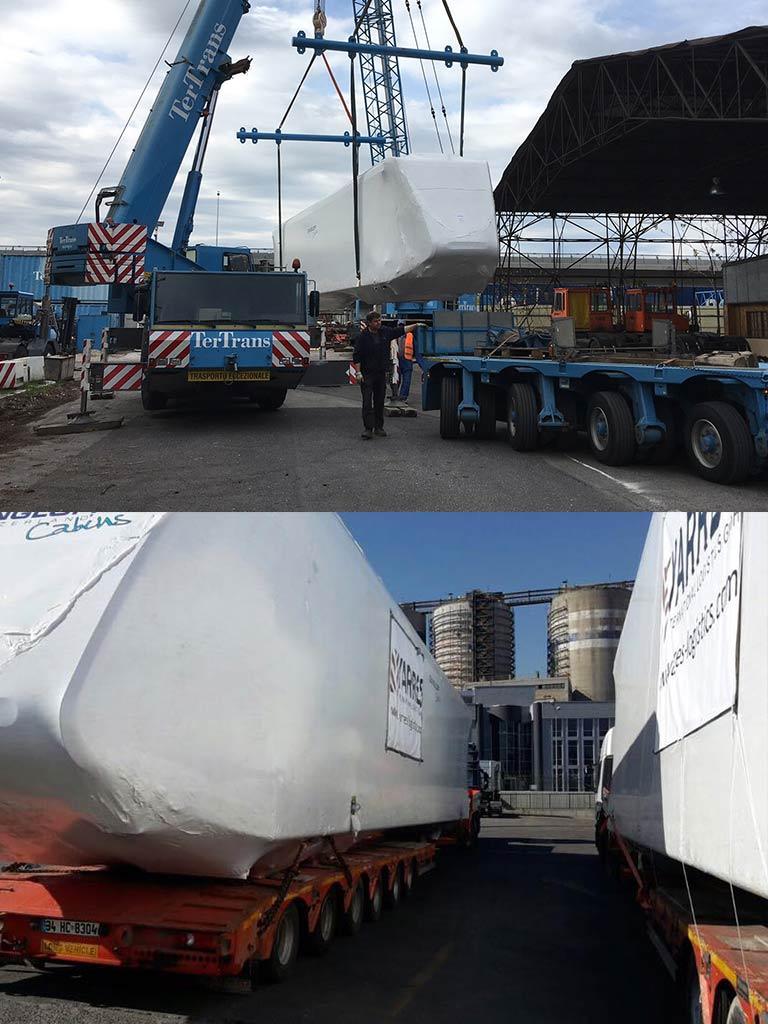 Übermaß Transport von Wagons für die neue Standseilbahn