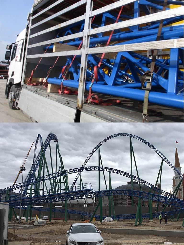 Transporte von Konstruktionsteilen und Zügen